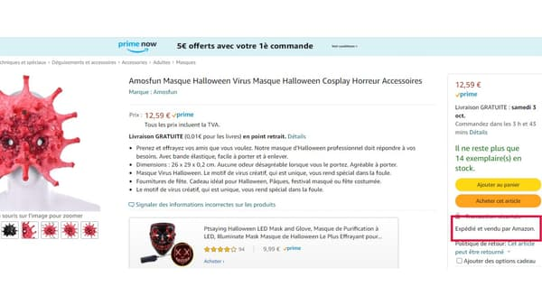 Un masque virus vendu et expédié par Amazon