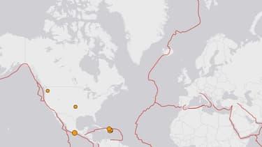 Selon l'Institut américain de géologie, l'épicentre du séisme est situé 316 km d'îles abritant une base de recherche britannique en Antarctique, sur le point rouge de la carte