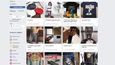 En cherchant Gucci sur le Marketplace, on tombe sur des sacs à 14 euros