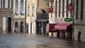 Les rues inondées de Quimperlé, dans le Finistère, le 2 janvier 2014.