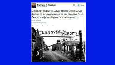 L'un des tweets qui ont mené à la démission du secrétaire d'Etat Dimitris Kammenos.