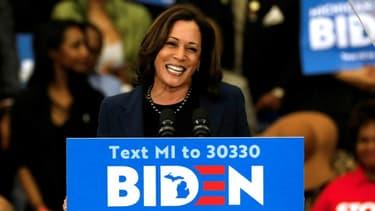 La sénatrice Kamala Harris lors de son premier meeting de soutien au candidat démocrate à la Maison Blanche Joe Biden, le 9 mars 2020 à Detroit.
