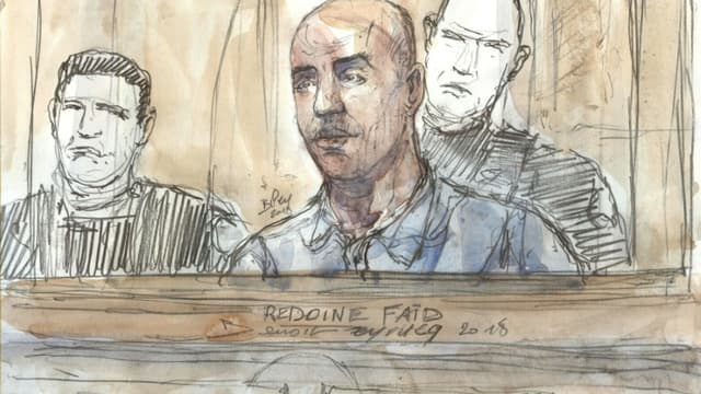 Croquis d'audience réalisé le 27 février 2018 montrant Redoine Faïd jugé devant la cour d'assises de Paris pour un braquage raté en 2010 ayant coûté la vie à une policière municipale