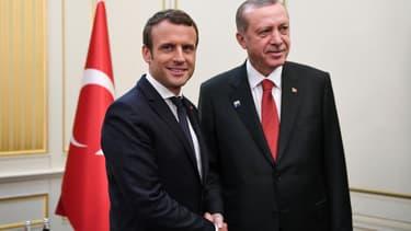 Emmanuel Macron et Recep Tayyip Erdogan lors de leur rencontre pendant le sommet de l'OTAN, à Bruxelles, en mai 2017.
