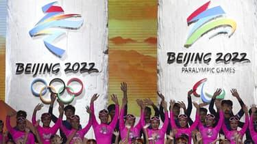 Une cérémonie pour les JO d'hiver 2022, à Pékin le 31 janvier 2019