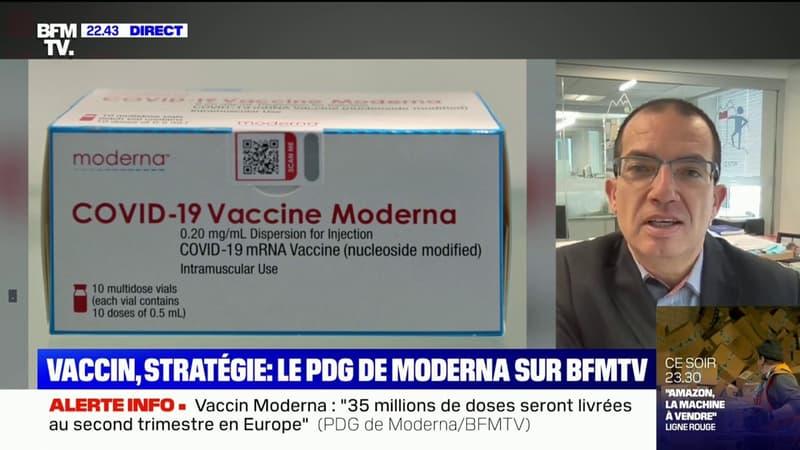 """Stéphane Bancel (Moderna): """"La vaccination va se poursuivre sur le très long terme, c'est un virus qui ne disparaîtra plus"""""""