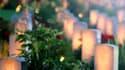 Photo prise jeudi 30 juin 2016, montrant les tombes de soldats britanniques tués pendant la bataille de la Somme, illuminées lors d'une cérémonie pour commémorer le centenaire de ce combat parmi les plus meurtriers de la Première Guerre mondiale (1,2 million de tués, disparus et blessés en cinq mois) au mémorial de Thiepval, dans le nord de la France.
