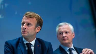 Emmanuel Macron et Bruno Le Maire aux Rencontres de l'U2P, qui représente les travailleurs indépendants. le 16 septembre 2021 à Paris