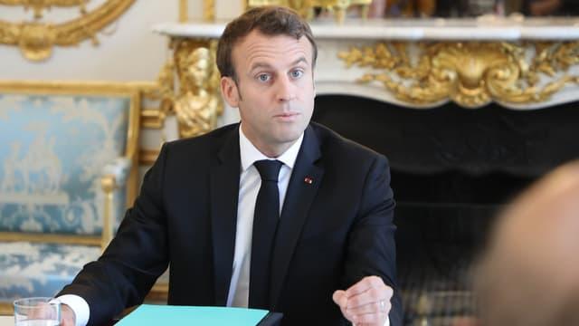 Emmanuel Macron le 23 mai 2019, lors du premier conseil de défense écologique