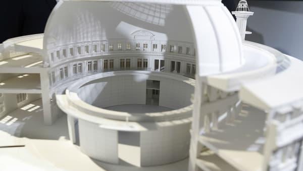 Un cylindre gigantesque sera installé au coeur de la bourse de commerce pour accueillir des expositions.