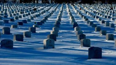 Des pierres tombales sont recouvertes par un épais manteau neigeux dans le cimetière ntaional d'Arlington à Washington, le 24 janvier 2016