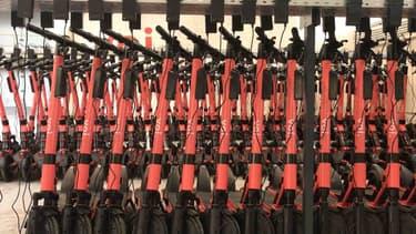 Des dizaines de trottinettes en train de recharger dans le nouvel entrepôt de VOI à Alfortville (Val-de-Marne).