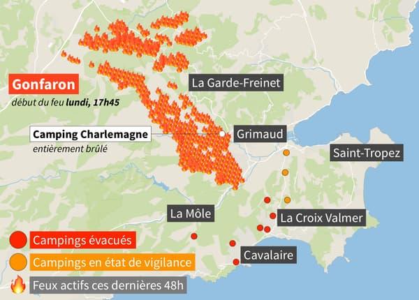 Carte des feux de forêt dans le Var