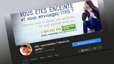 """Capture d'écran de la page Facebook """"IVG : vous hésitez ? Venez en parler !"""""""