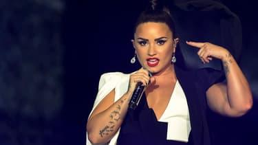 Demi Lovato sur la scène du festival Rock in Rio, à Lisbonne, le 24 juin 2018