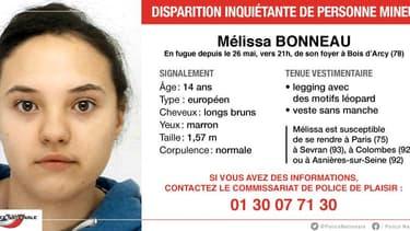 Mélissa a fugué de son foyer à Bois d'Arcy, dans les Yvelines, depuis le 26 mai dernier