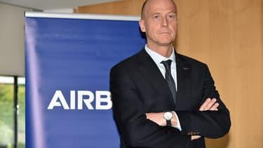 Tom Enders, le patron d'Airbus, sur le site de production de l'avionneur à Blagnac près de Toulouse, en mars 2018.