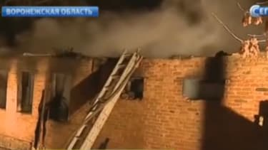 Des images de l'incendie diffusées dans la nuit par des chaînes de télévision russes.