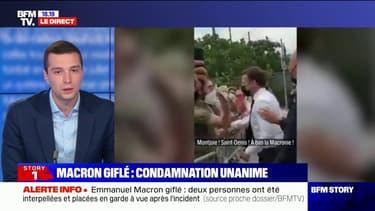 """Emmanuel Macron giflé: pour Jordan Bardella, """"on gagnerait tous à apaiser le débat"""""""