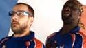 """Omar et Fred, alias François le Français et Doudou, chantent : """"Bleu, blanc, rouge... il faut gagner les Français !"""""""