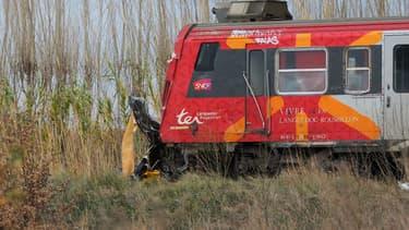 Le train impliqué dans l'accident.