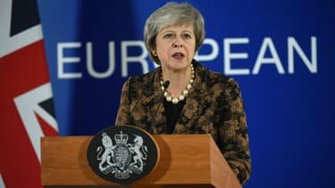 Theresa May donne une conférence de presse sur le Brexit à Bruxelles, le 14 décembre 2018