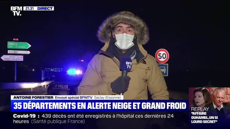 Neige en Essonne: à Saclay, la nationale 118 a été fermée à la circulation
