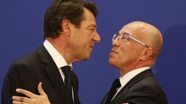 Christian Estrosi et Eric Ciotti lors de la campagne pour les élections régionales en PACA, en décembre 2015 - VALERY HACHE / AFP
