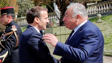 Emmanuel Macron et Gérard Larcher le 10 mai 2019 à Paris