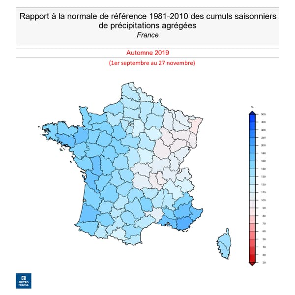 Cumul des précipitations en France