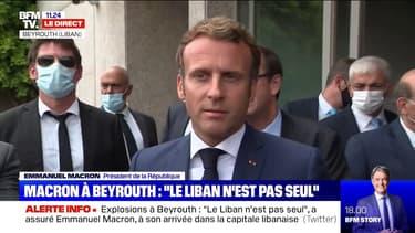 """Emmanuel Macron à Beyrouth: """"Je me devais d'être là pour apporter cette amitié au peuple libanais"""""""