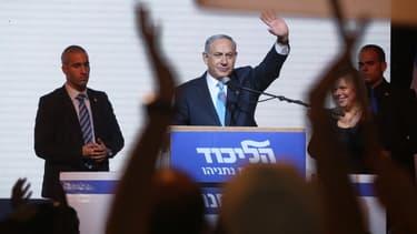 Benjamin Netanyahu s'adresse à ses partisans, le 17 mars 2015, à Tel-Aviv.