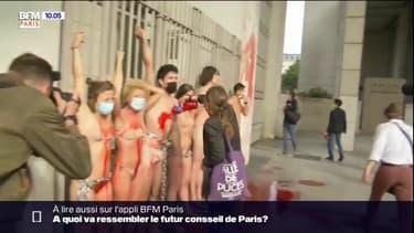 Extinction Rebellion, le groupe de militants écologistes,a effectué une nouvelle action ce mardi matin devant le ministère de l'Économie et des finances. En sous-vêtements et enchaînés, ils se sont aspergés de faux sang.