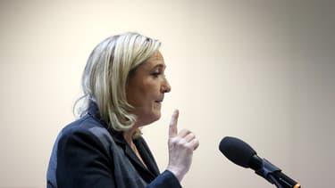 Marine Le Pen lors d'un meeting à Bordeaux le 1er février 2014.