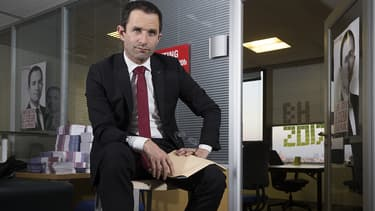 Benoît Hamon à son QG de campagne