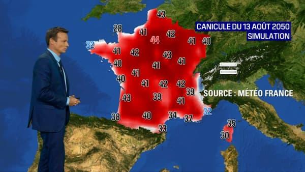Les températures en France, en 2050, lors d'une vague de chaleur.