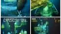 4 images extraites de la vidéo live diffusée par BP : le 26 mai (en haut à gauche), le 1er juin (en haut à droite), le 13 juillet (en bas à gauche) et le 15 juillet (en bas à droite), après que la fuite a été colmatée avec un nouvel entonnoir.