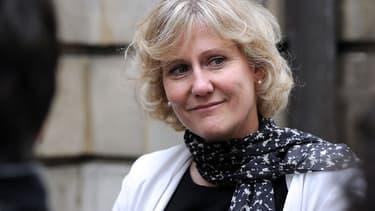Nadine Morano le 27 mai 2014 à Paris, devant le siège de l'UMP.