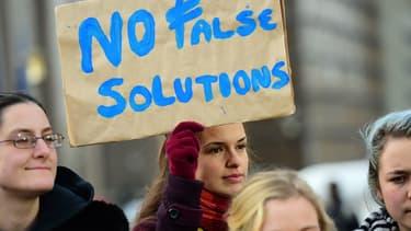 Manifestation contre le projet de traité de libre-échange transatlantique à Bruxelles, en décembre 2014.