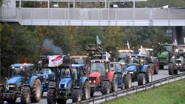 Vendredi, des agriculteurs en colère manifestaient contre l'écotaxe sur l'autoroute A2.