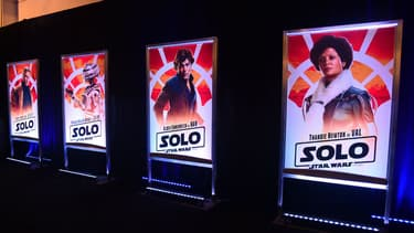 Des affiches du film Solo, a Star Wars Story, le 12 mai 2018 à Los Angeles.