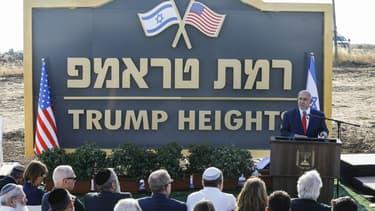 """Benjamin Netanyahu inaugure une nouvelle colonie sur la partie du plateau du Golan baptisée """"Ramat Trump"""", le 16 juin 2019"""