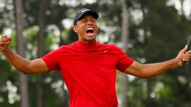 Tiger Woods, lors de sa victoire sur le Master d'Augusta.
