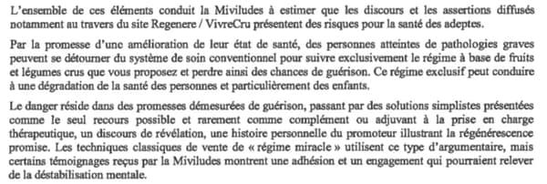 Le courrier adressé par la Miviludes à Thierry Casasnovas