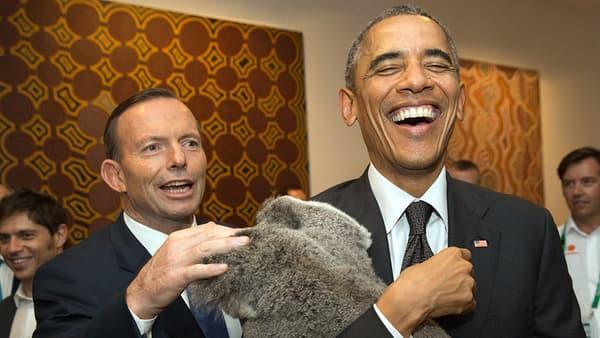 Le Premier ministre australien Tony Abbott en séance calin avec Barack Obama et un koala.