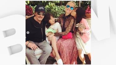 Johnny Hallyday en compagnie de Laeticia et de leurs filles Jade et Joy