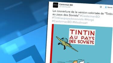 La couverture de la nouvelle version colorisée de Tintin au pays des soviets, tweetée par les éditions Casterman.