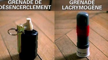 Exemples de grenades employées par les force de police et de gendarmerie pour le maintien de l'ordre.