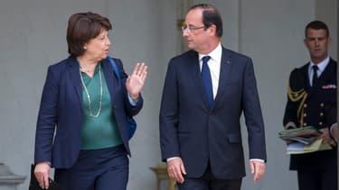 Martine Aubry et François Hollande sur le perron de l'Elysée, le 6 juin 2012.