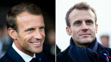 L'ancienne et la nouvelle photo de profil d'Emmanuel Macron.